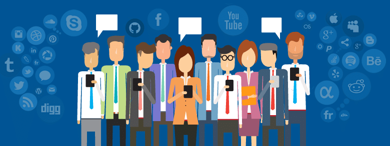 Illustration of people using social media on their phones with icons floating around them