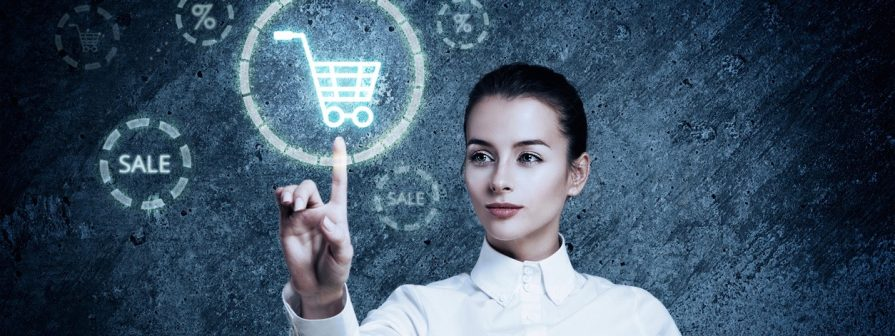 Woman Pointing at Glowing Shopping Cart Icon