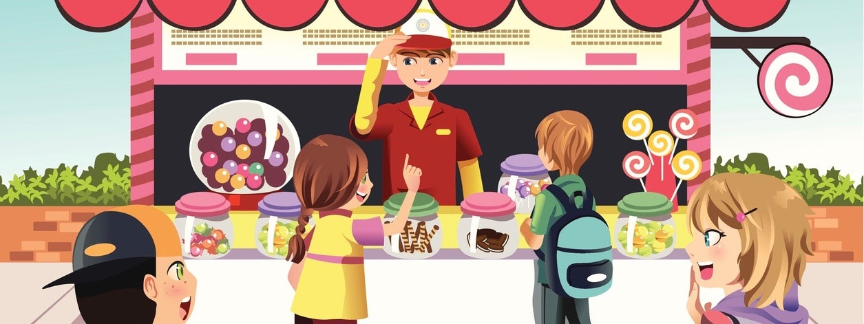 A vector illustration of kids buying candy at a candy shop