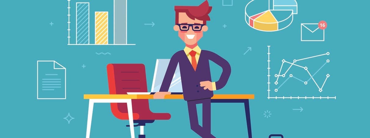 Confident businessman standing cross-legged leaning on a table with business process icons and infographics on background. Vector illustration.