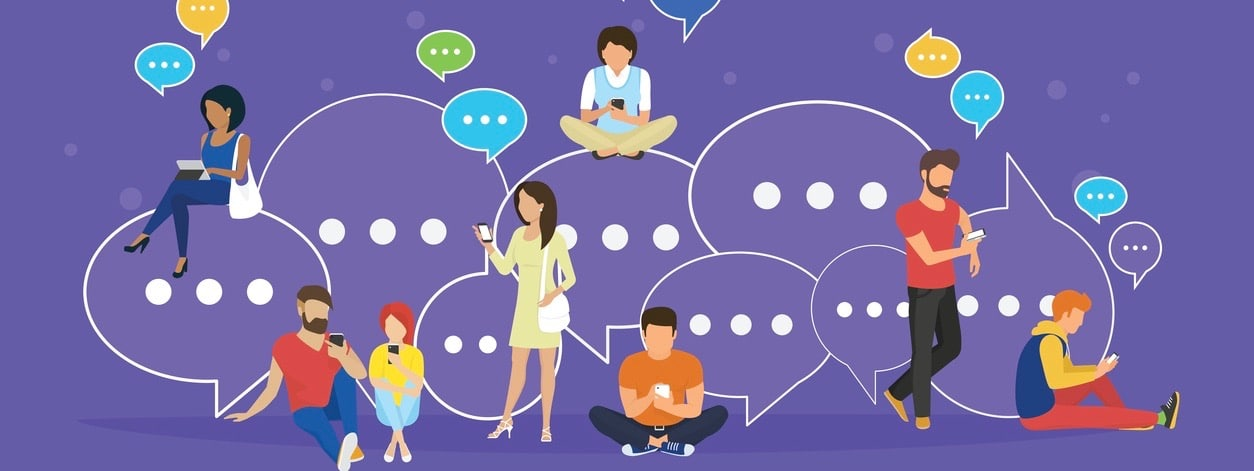 Speech bubbles for online texting and messaging concept flat vector illustration of young people using mobile smartphone and tablet for chatting and communicating. Guys and women sitting on bubbles