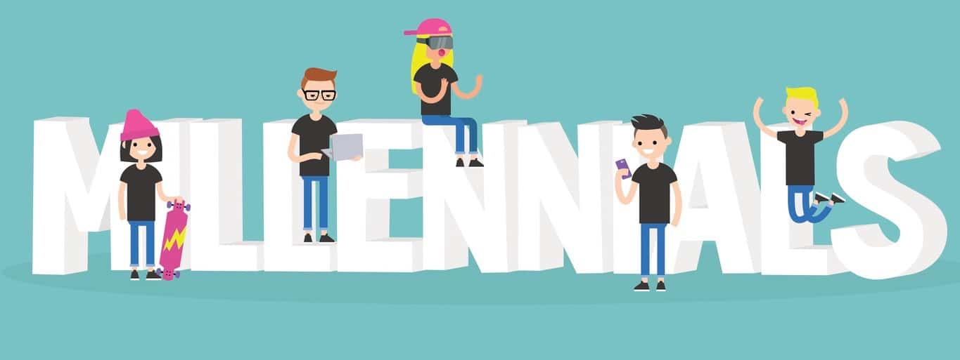 Young modern characters sitting and standing near the 3D letters / flat editable vector illustration