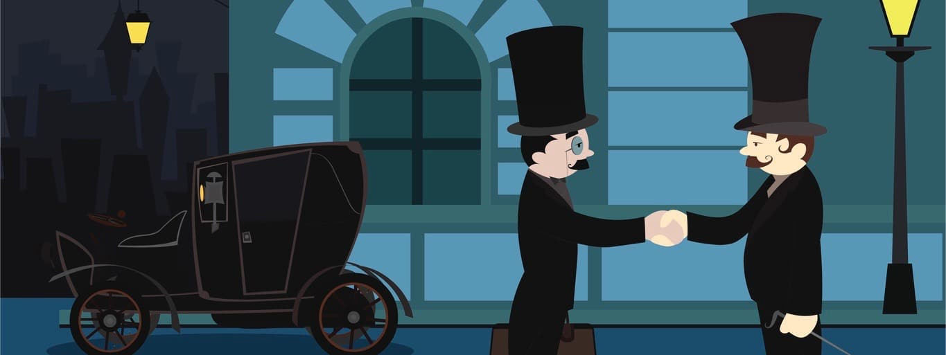 illustration of two businessman handshaking in front of a car at night.