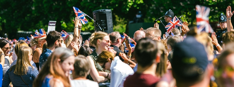 crowd cheering for royal wedding