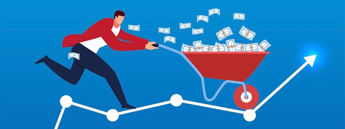 Businessman pushing a trolley full of money to fly on bar graph