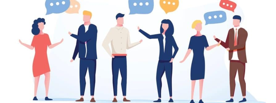 Vector illustration flat style, businessmen discuss social network group of people, news social networks, meeting chat, dialogue speech bubbles. Flat vector illustration. Business coworking conference (Vector illustration flat style, businessmen discu