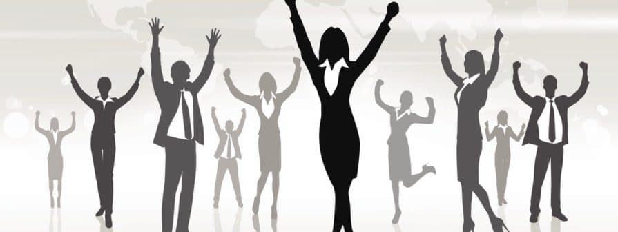 Business People Group Silhouette Excited Hold Hands Up Raised Arms, Businessman Concept Winner Success Copy Space Vector Illustration