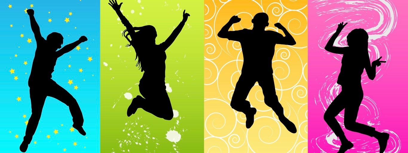 Happy people jumping silhouette