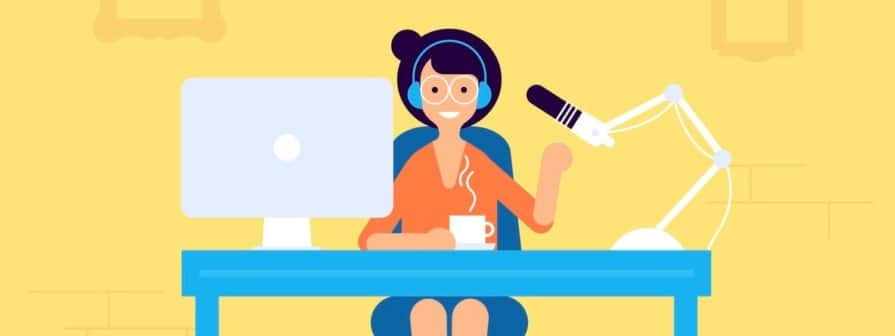 Podcast radio, broadcasting girl character illustration. Studio table with microphone and laptop with broadcast girl. Webcast audio record concept illustration. (Podcast radio, broadcasting girl character illustration. Studio table with microphone and