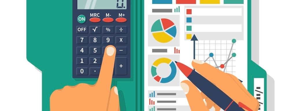 Financial accounting concept. Organization process, analytics, research, planning, report, market analysis. Flat style vector. Businessman holding pen, clipboard financial tables, graphs. (Financial accounting concept. Organization process, analytics,