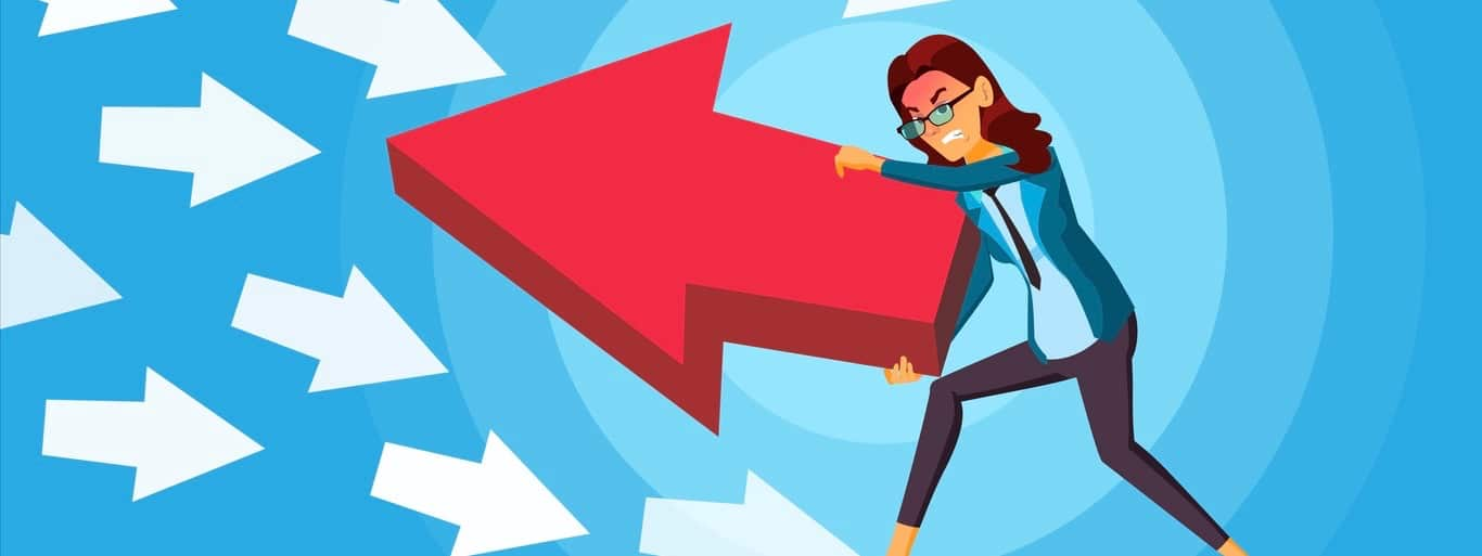Business Woman Pushing Arrow Vector. Opponent Concept. Opposite Direction. Standing Out From The Crowd. Against Obstacles. Cartoon illustration