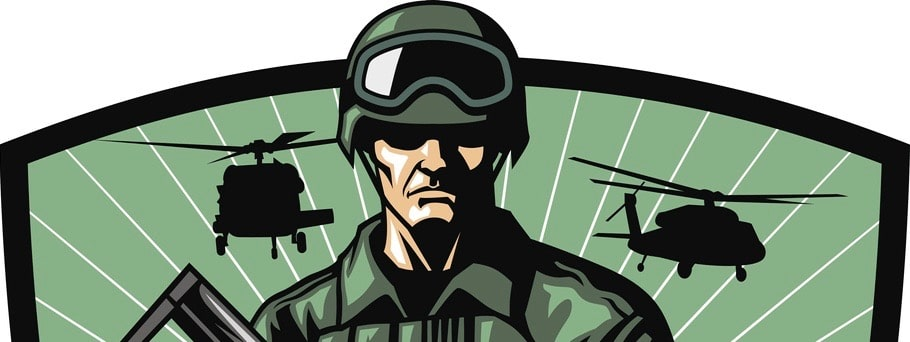 vector of soldier with rifle
