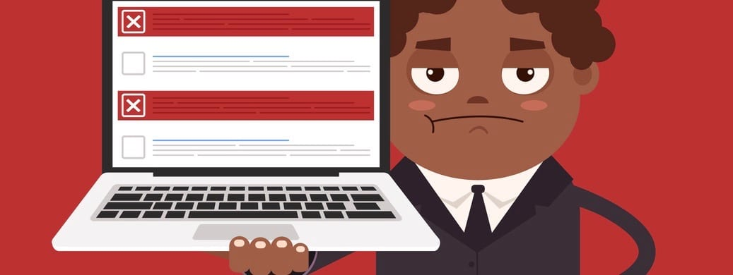 Angry upset African American businessman office worker man character hold laptop with checkboxes.