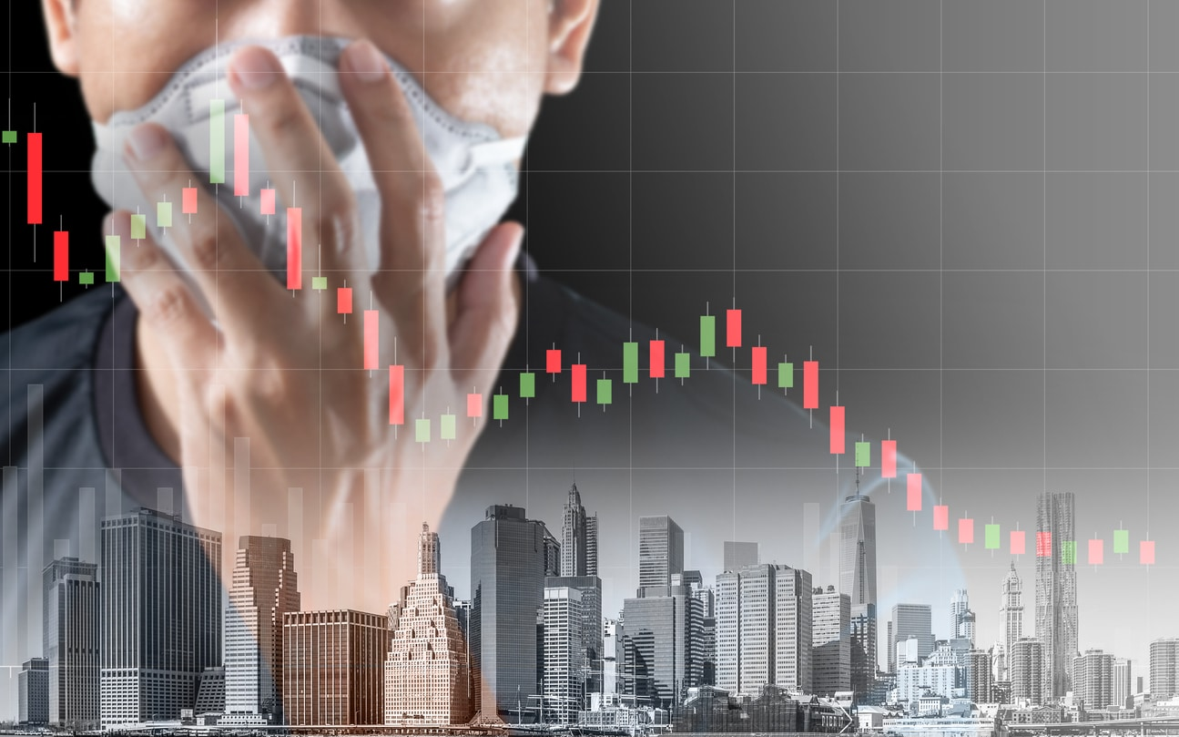 Concept of economic recession during the coronavirus crisis, downtrend stock and man with mask background