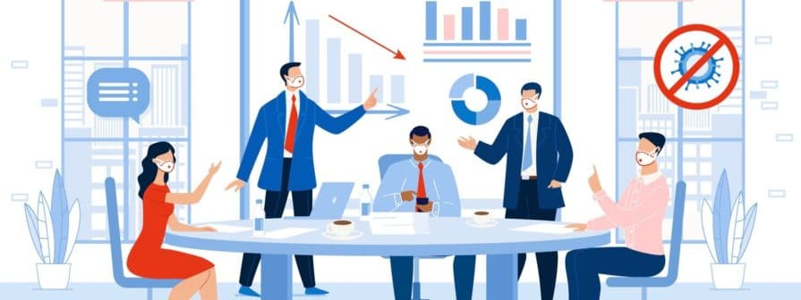 Business Meeting Profit and Loss Discussion in Office. Financial Company Recovery after Coronaviruse Epidemic. Businesspeople in Face Mask. Team Brainstorming Researching Problem Solution (Business Meeting Profit and Loss Discussion in Office.