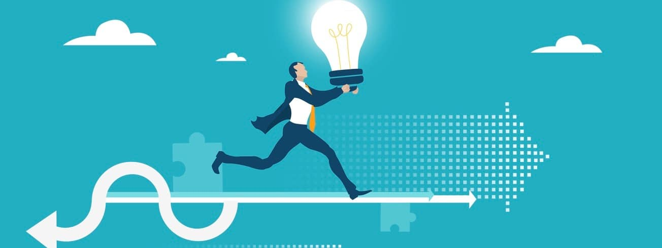Businessmen, creative successful young man running with light bulb.