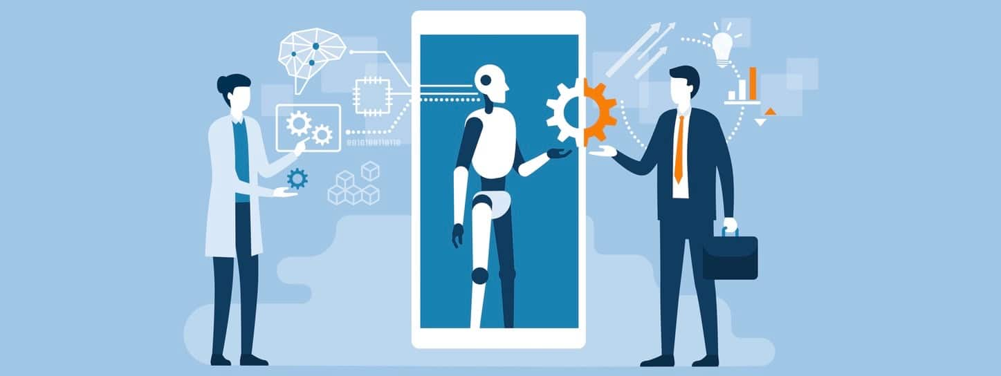 Scientist, AI robot and businessman working together.