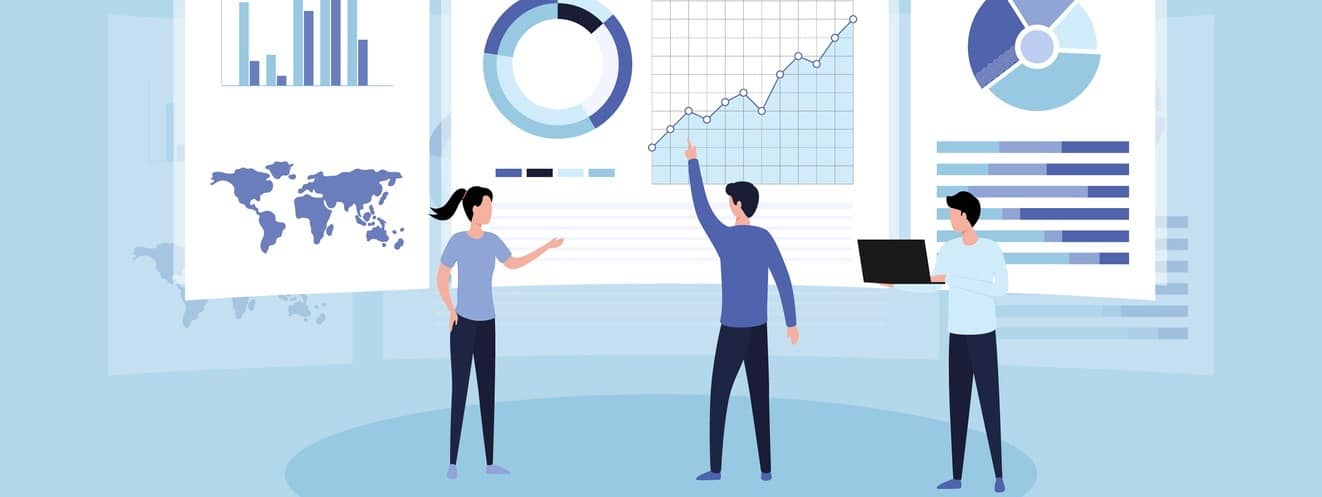 Data analysis concept. Teamwork of business analysts on holographic charts and diagrams of sales management statistics and operational reports, key performance indicators.