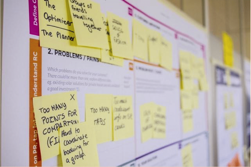 Whiteboard with sticky notes on PR tactics represents the role of PR in the service industry.