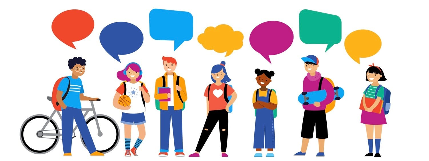Back to school background, diversity concept for children - schoolboys and schoolgirls of different ethnicities standing together.