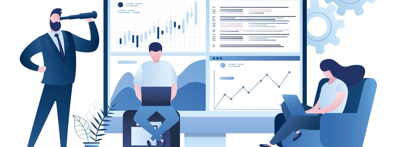Business analyst working. Profit, Revenue Forecast. Businesspeople trade in financial markets. Male boss investor.