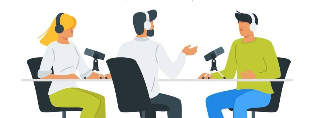 People recording podcast in studio flat vector illustration. Radio host interviewing guests on radio station cartoon characters.