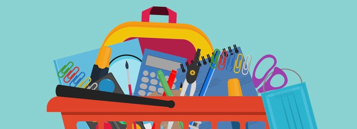 School Supplies In orange shopping basket with protective medical mask.