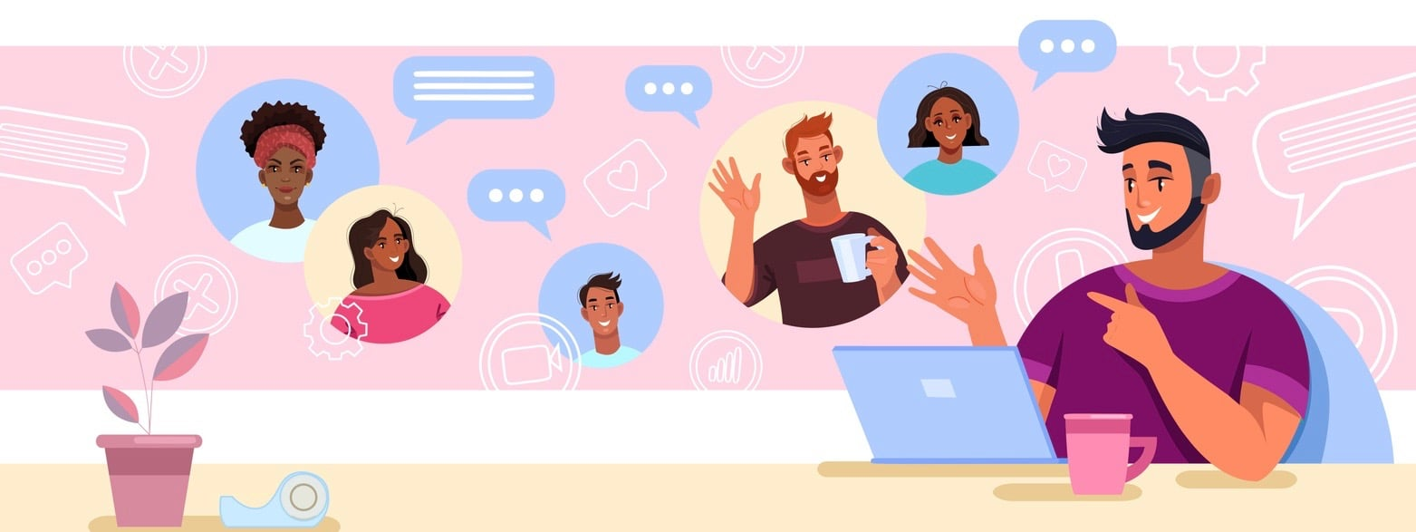 Virtual meeting and teamwork concept with smiling boss and diverse employees.