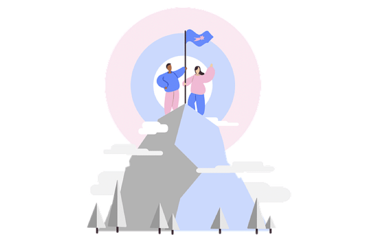 An illustration of two climbers on the peak of a mountain.